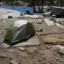 How NOT to set up a tent, besides being only 60 feet from Lake Aloha