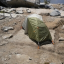 View 2 of a zealous anti-rain camper's tent... in the wilderness